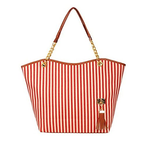 Rakkiss Women Canvas Shopping Handbag Girl Stripe Tassels Chain Shoulder Tote Shop Bag Casual Handbags (One_Size, Red)