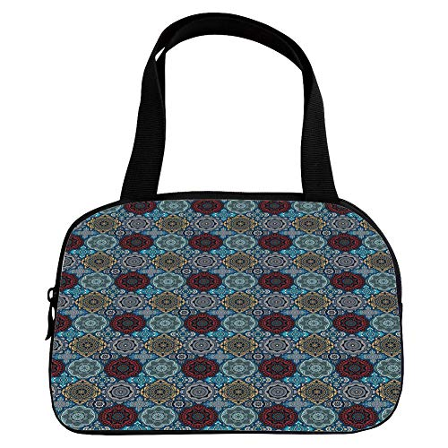 iPrint Vogue Small Handbag Pink,Moroccan,Patchwork Style Vintage Ottoman Inspiration Retro Ethnic Henna Motifs Decorative,Ruby Blue Sand Brown,for Girls,Diversified - Louis Vuitton Patchwork