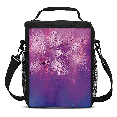 (Watercolor Flower Home Decor Fashionable Lunch Bag,Asian Japanese Cherry Blossom with Hazy Romantic Paint for Travel Picnic,One size)