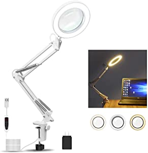 LED Magnifying Lamp 5X with Clamp, 3 Color Modes,Adjustable Swivel Arm lamp for Reading/Desk Table Craft or Workbench-White