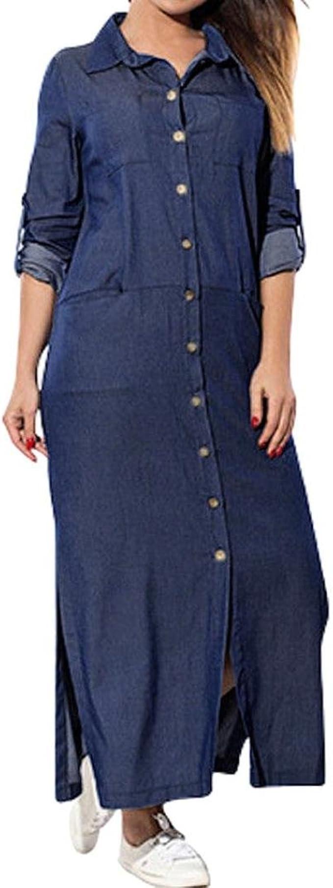 Hmlai Long Denim Dress, Women Fashion Side Split Long Sleeve Button Down Maxi Shirt Dress Plus Size