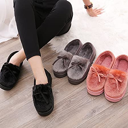36-40 YMFIE Ladies cotton slippers home plush winter skid proof water warm slippers shoes Europe size