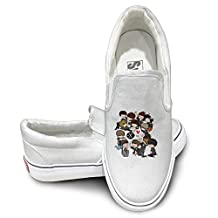 DHome Ex Boys Band Comfort Unisex Flat Canvas Sneaker Shoes White