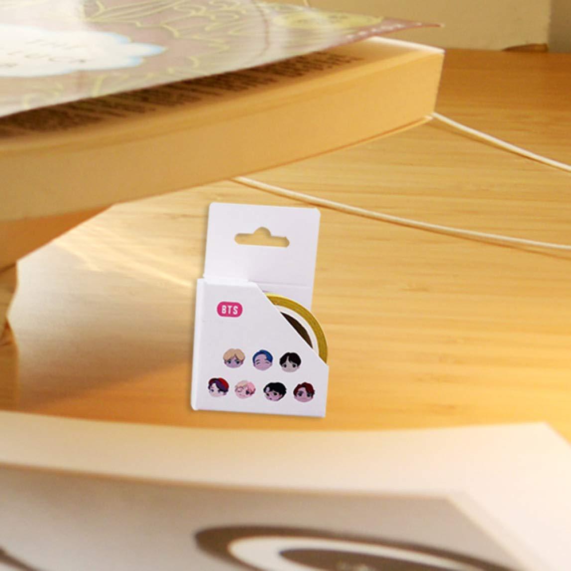 ShixinC Motivo: Cartoni Animati KPOP BTS A Nastro Adesivo in Carta Washi Multicolore 5 m