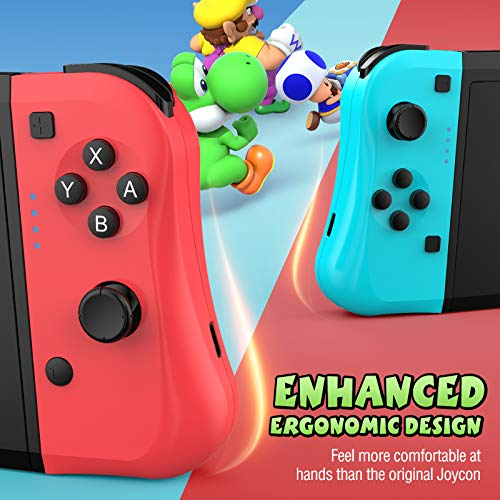 Gamory Wireless Controllers for Nintendo Switch, Wireless Controllers for Nintendo Switch Joy Cons Replacement Joystick for Joy con with Ergonomic L/R Comfort Grip Controller Joypad