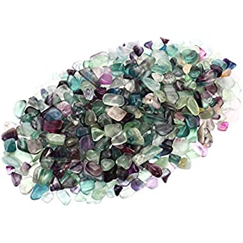ZenQ 1 lb Fluorite Tumbled Stone Chips Crushed Natural Crystal Quartz Pieces