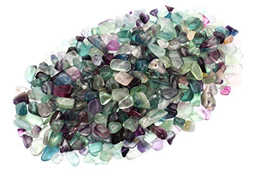 - ZenQ 1 lb Fluorite Tumbled Stone Chips Crushed Natural Crystal Quartz Pieces