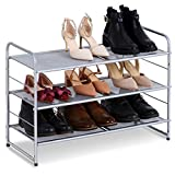 Bextsware Stackable 3-Tier Metal Mesh Utility Shoe Rack Organizer, Expandable Shoe Shelf Storage for Cabinet Closet Bedroom Entryway, Fits Boot, High Heel, Slipper, Sneaker, Sandal, Flats, Silver