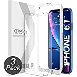 XDesign Glass Screen Protector Designed for iPhone 11 and iPhone XR (3-Pack) 6.1-inch Tempered Glass with Touch Accurate/Impact Absorb + Easy Installation Tray [Fit with Most Cases]- 3 Pack