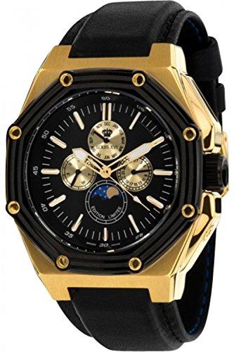Louis XVI Men's-Watch Le Souverain l'or Noir Swiss Made Moonphase Analog Quartz Leather Black 521