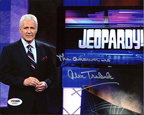"""Alex Trebek Jeopardy! """"The Answer Is"""" Signed 8X10 Photo Autographed PSA #AA83864 by Press Pass Collectibles"""