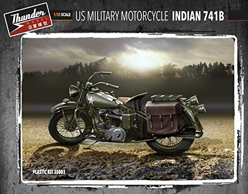 Thunder Model 1/35 US Military Motorcycle Indian 741B (Two Kits in Box) 35003 from Thunder Model
