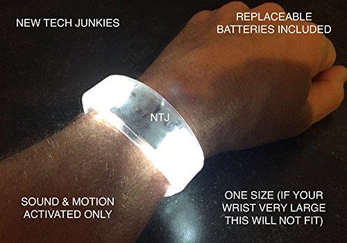 [NTJ Bracelet LED Flashing W/sound & Motion On/off Button 2 1/8