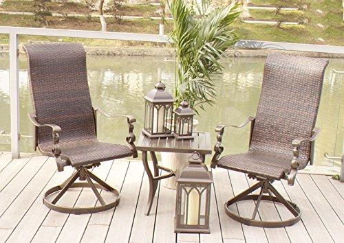 Set of 2 Cast Aluminum Swivel Rocking Wicker Patio Dining Chairs