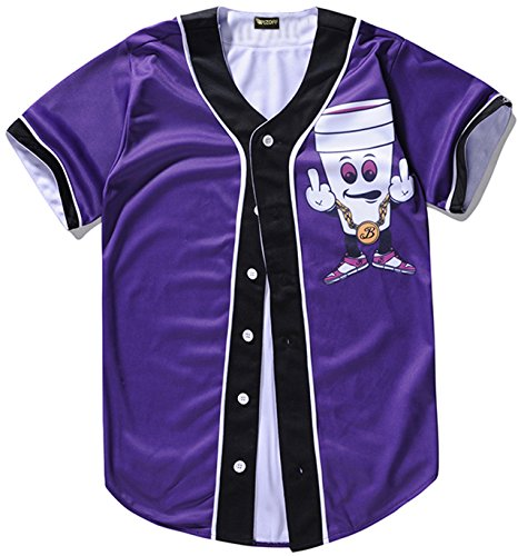 PIZOFF Short Sleeve Baseball Team Jersey Front Cartoon Basketball Shirt Y1724-60-M