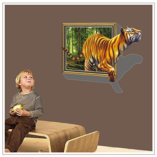 Sanbay 3d Style Hot Sale Big Tiger Vivid Removable Mural Wall Stickers Wall Decal for Home - Free Dorm Nude