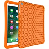 Fintie iPad 9.7 2018 2017 / iPad Air 2 / iPad Air Case - [Honey Comb Series] Light Weight Anti Slip Kids Friendly Shock Proof Silicone Protective Cover for iPad 6th / 5th Gen, iPad Air 1 2, Orange