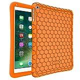 ipad 1 skin - Fintie iPad 2017 9.7 Inch / iPad Air 2 / iPad Air Case - [Honey Comb Series] Light Weight Anti Slip Kids Friendly Shock Proof Silicone Protective Cover for Apple iPad 5th Gen, iPad Air 1 2, Orange