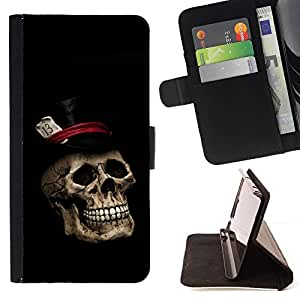 DEVIL CASE - FOR Samsung ALPHA G850 - Gentleman Skull Top Hat - Style PU Leather Case Wallet Flip Stand Flap Closure Cover