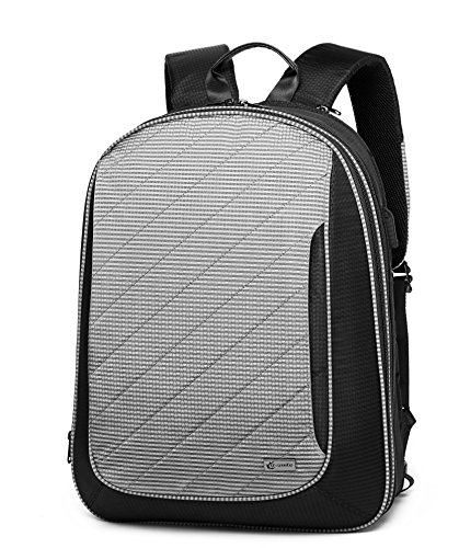 Q-smile Anti Theft Business Laptop Backpack Travel Computer Bag with Toiletry Organizer for Women & Men Fits 15.6 Inch Laptop and Notebook, 20L (Grey)