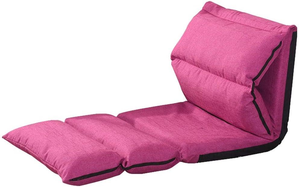 ZHEYANG Sillones Creative Lazy sofá Respaldo Piso Silla Plegable Solo sofá Silla Ajustable Ventana Ventana Silla Lino sofá Cama L230 × W65cm (Color : Pink)