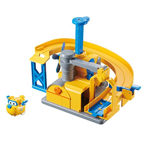Super Wings Donnie's Fix It Garage Toy Playset | Includes Donnie Figure | Pop 'n Transform Scale by Super Wings