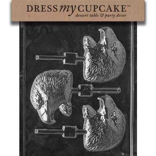 Dress My Cupcake Eagle Head Lollipop Chocolate Mold - A114 - Includes National Cake Supply Melting & Chocolate Molding Instructions