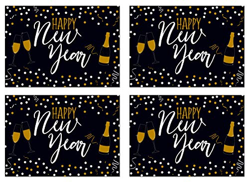 Happy New Year Banner - 4-Pack New Years Eve Party Decoration, Party Supplies, New Years Eve Sign, Party Accessory, 56 x 39 -