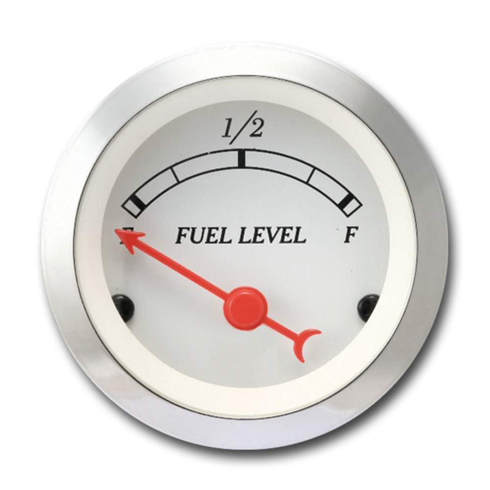 MOTOR METER RACING 2'' Classic Fuel Level Gauge White Dial Chrome Bezel Red Needle