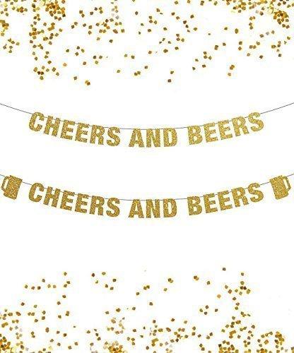 Amazon.com: Cheers and Beers Banner, Glitter Banner, Pop Clink Fizz ...