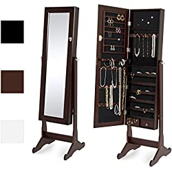 Best Choice Products Mirrored Jewelry Cabinet Armoire w/Stand Rings, Necklaces, Bracelets - Brown