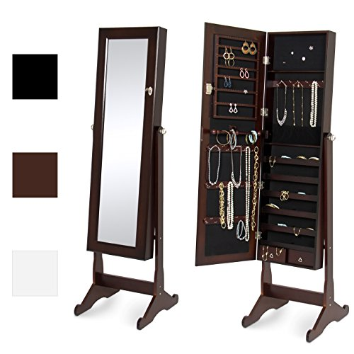 (Best Choice Products Mirrored Jewelry Cabinet Armoire w/ Stand Rings, Necklaces, Bracelets - Brown)