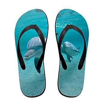 Couple Flip Flops Dolphin Undersea Print Chic Sandals Slipper Rubber Non-Slip Spa Thong Slippers