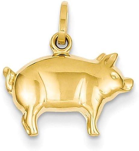 14k 14kt Yellow Gold Pig Charm PENDANT 16.5 mm X 16 mm