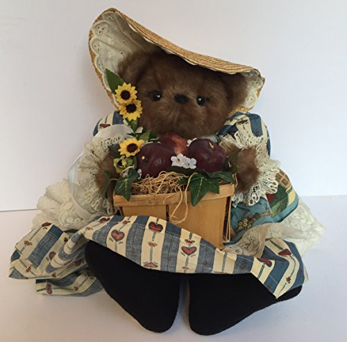 Thanksgiving Apple Harvest Girl Teddy Bear with Straw Bonnet and Lace Trimmed Print Dress, Sits - Trimmed Lace Teddy