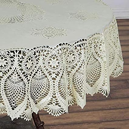 Tableclothsfactory 60x90u0026quot; Ivory 0.6 Mil Thick Lace Vinyl Eco Friendly Oval  Tablecloth Protector Cover