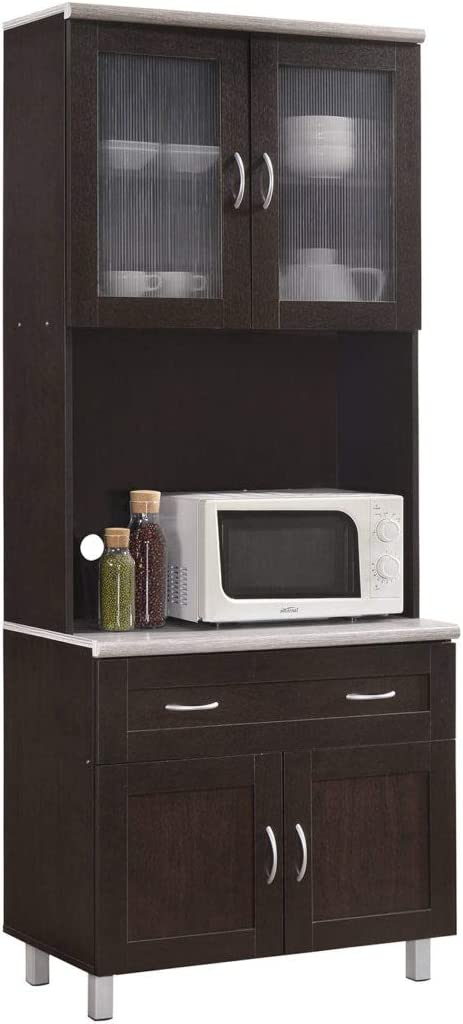 Hodedah Kitchen Cabinet, Chocolate: Furniture & Decor