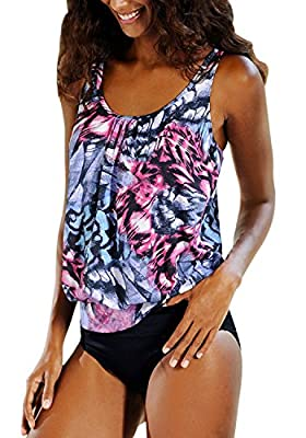 Feel Show Womens Padded Printed Tankini Sets Two Piece Swimsuit