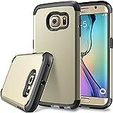 S6 Sumsangcase, Galaxy S6 Edge Defender case, SGM (TM) Premium Hybrid Dual Layer Armor Case For Samsung Galaxy S6 Edge [Shock Proof] (Gold + Black)
