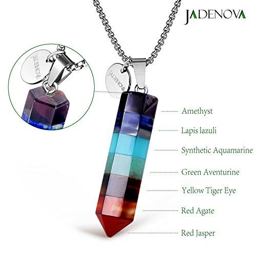 Jadenova 7 chakra gemstone pendant necklace with energy healing jadenova 7 chakra gemstone pendant necklace with energy healing crystal pendulum 18 stainless aloadofball Images