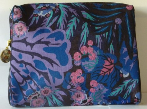 Estee Lauder Blue and Red Flower Cosmetics Bag/makeup Bag (Estee Lauder Makeup Bag)