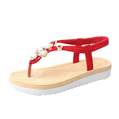 LvRaoo Damen Perlen Sandalen mit Gummiband Slingback Flip Flops Platform T-Strap Strandschuhe (Beige, Asien 37)
