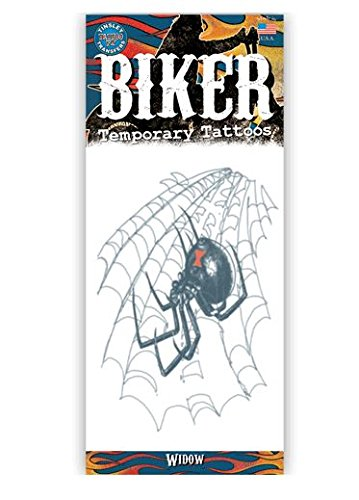 Biker Design Temporary Tattoo- Black Widow -