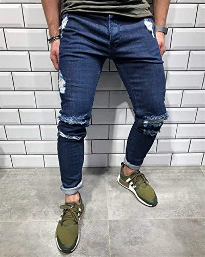 Dunkelblau Con Comode Biker Abiti Taglie Skinny Jeans Pantaloni Zipper Fit R Slim Uomo Sfilacciati Cerniera Strappati x0ppzwZqF