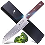 15V Santoku Knife 7.5 inch,High Carbon German Steel Full Tang Hollow Edge Kitchen Knife with Pakkawood Handle - Onimaru Series