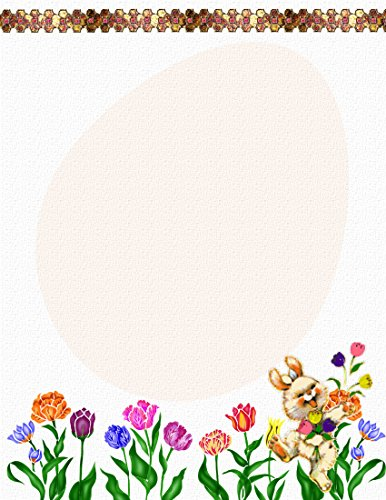 Easter Stationery Bunny (Easter Bunny With Flowers Stationery Printer Paper 26 Sheets)