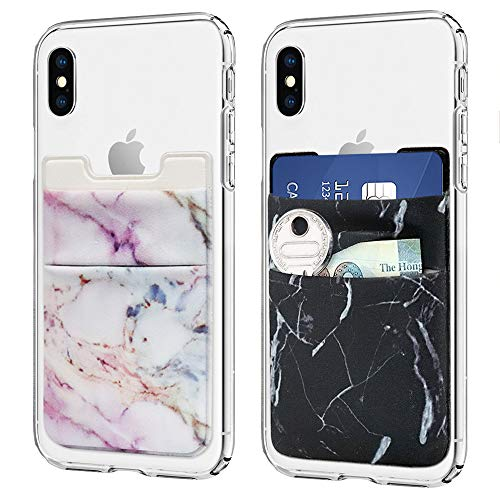 (Cell Phone Card Holder, Stick on Wallet for Back of Phone, 3M Adhesive Ultra Slim Phone Pocket ID Credit Card Holder Sleeves Pouch Compatible Phone, Samsung Galaxy, All Smartphones - 2Pack (Marble))