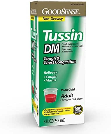 GoodSense Tussin DM Cough Suppressant and Expectorant for Adults Age 12 and Over, Relieves Cough, Chest Congestion and Mucus, 8 Fluid Ounce Cough Syrup, Cherry Flavor