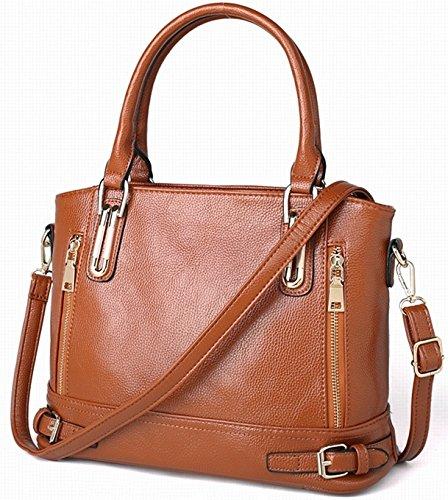 Handtasche für Damen, Tote Tasche Vintage Lederimitat Hobo Bags Umhängetasche Schultertasche, PU Mode und Mehrzweck mit Reißverschluss(Schwarz) Braun