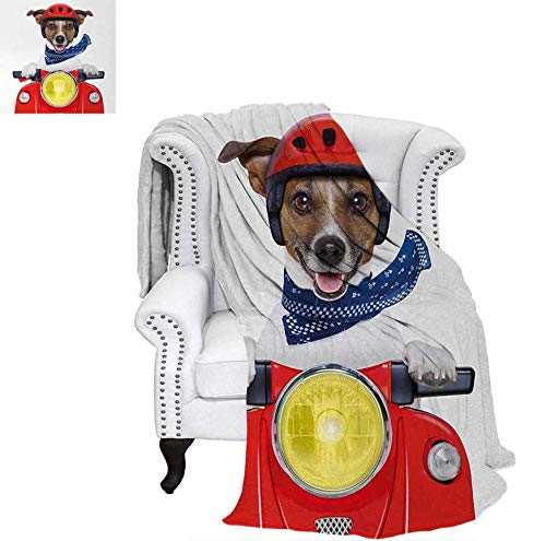 Lightweight Blanket Puppy with Helmet Riding Motorbike Humor Jack Russell Courier Italy Pet Graphic Custom Design Cozy Flannel Blanket 90